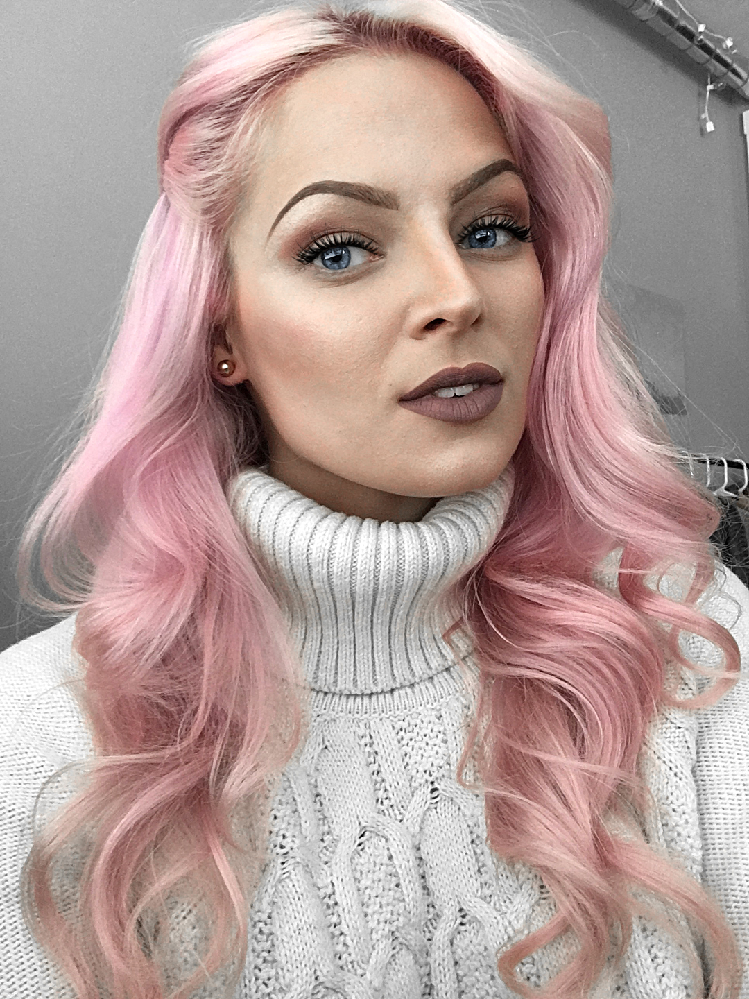Light Pink Hair Brown Roots